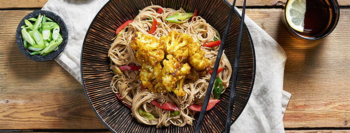 Katsu Roasted Cauliflower with Japanese Soba noodles