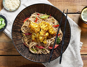 Katsu Roasted Cauliflower with Japanese Soba noodles