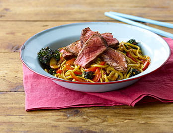 Korean BBQ steak with noodles in a bowl