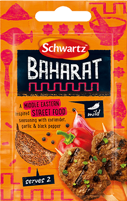 Orange pack shot of Baharat Street Food Seasoning