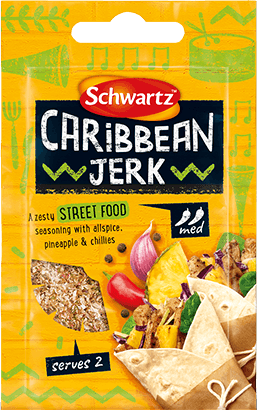 Yellow Pack shot of Caribbean Jerk seasoning
