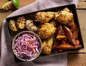 Peruvian Chicken With Sweet Potato Wedges & Peruvian Style Slaw