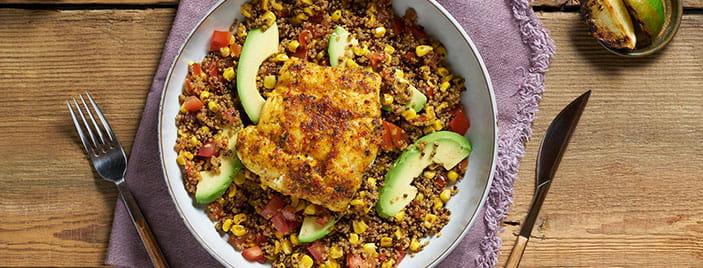 Peruvian Cod With A Corn & Quinoa Salad