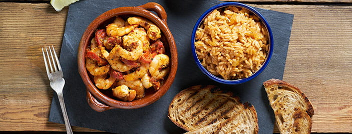 Pil Pil Prawns With Roasted Peppers & Basque Style Rice