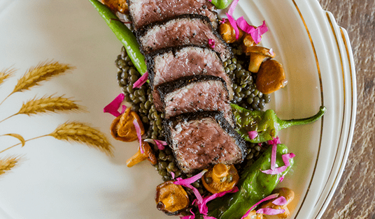 ancho-chili-rubbed-elk-loin-with-sauteed-chanterelles-lentils