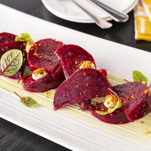 Roasted Beets with Fiery Habanero and Roasted Garlic Avocado Cream