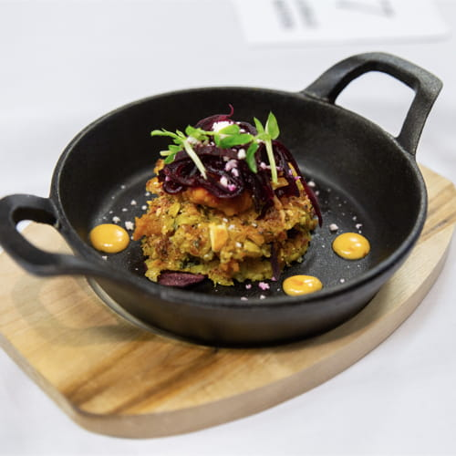Beet Corn Cake, Pickled Beet Slaw, Lime Mayo, Roasted Squash Puree and Bean Sprouts