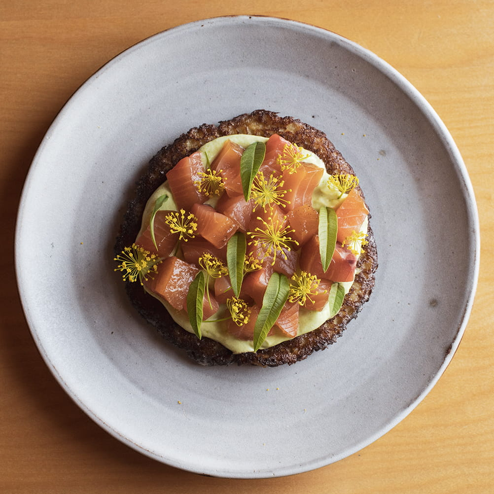 Old Bay Cured Salmon, Lovage Crème Fraiche, Acadian Style Potato Pancakes