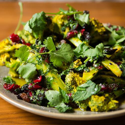 Charred Broccoli with Keens Mustard Yogurt and Dried Fruit - Recipe