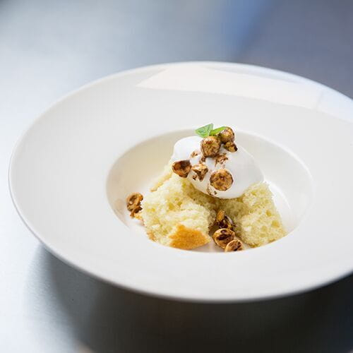 Berbere Sponge Cake with Coconut Milk Sorbet and Spiced Candied Hazelnuts