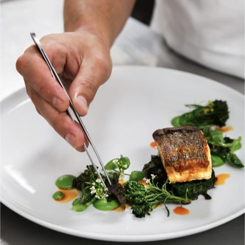 Pan Roasted Ling Cod, Cardamom Pea Puree, Caramelized Habanero Broccolini, Creamed Swiss Chard, Habanero Oil
