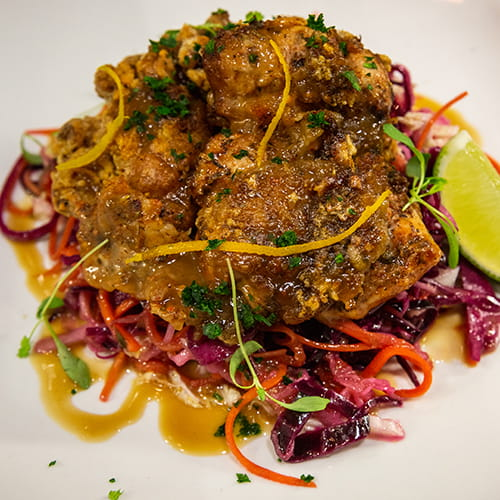 Piri Piri Fried Chicken with Honey Garlic Sauce and Tangy Slaw
