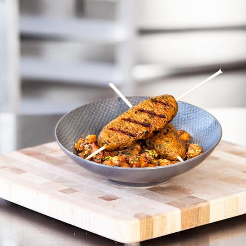 Brochettes de kibbeh et chutney à la courge musquée