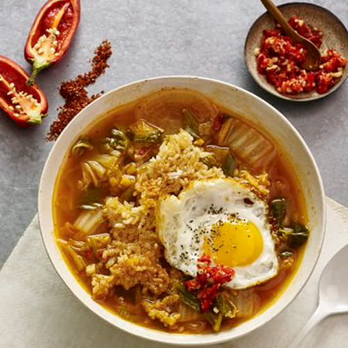 Kimchi Broth Bowl with Crispy Rice & Fried Egg