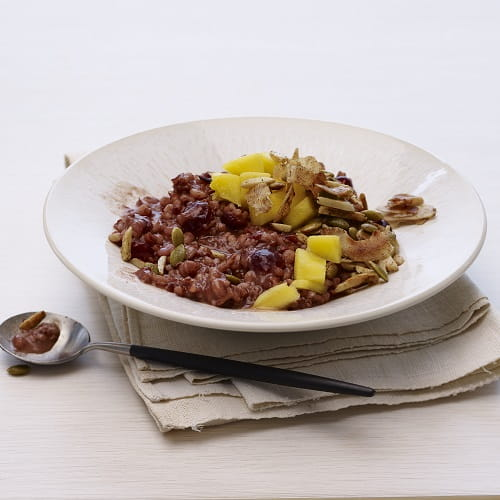 Red Rice and Barley Congee with Mango and Coconut - Recipe