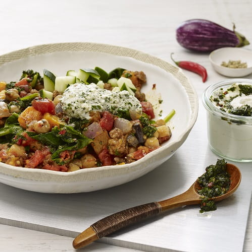 Chickpea and Ground Lamb Breakfast Hash with Skhug Sauce - Recipe