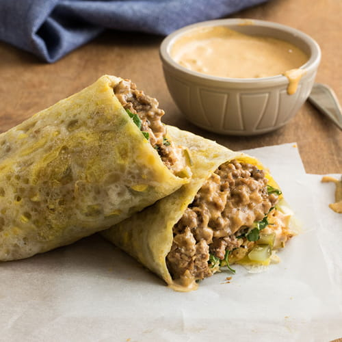 Asian Egg Crepes with NY Style Chopped Cheese Filling - Recipe