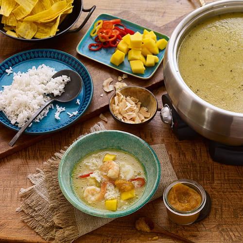 Caribbean Hot Pot Broth with Papaya Pica Sauce - Recipe