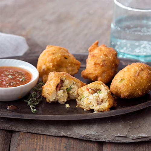 Hominy Fritters with Bacon Thyme Dipping Sauce - Recipe