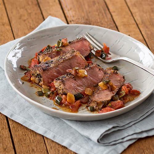 Mezcal Marinated Bison with Roasted Tomato Sofrito