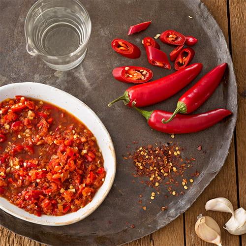 Sauce sambal piquante crue