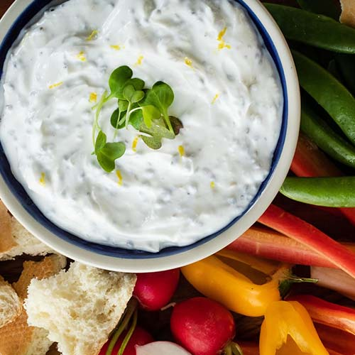 Flavour Forecast Citrus Herb and Basil Seed Yogurt Dip