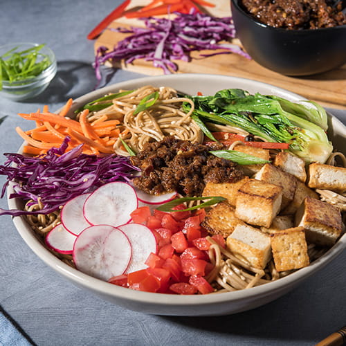 Tofu Noodle Bowl with Vegetarian XO Sauce
