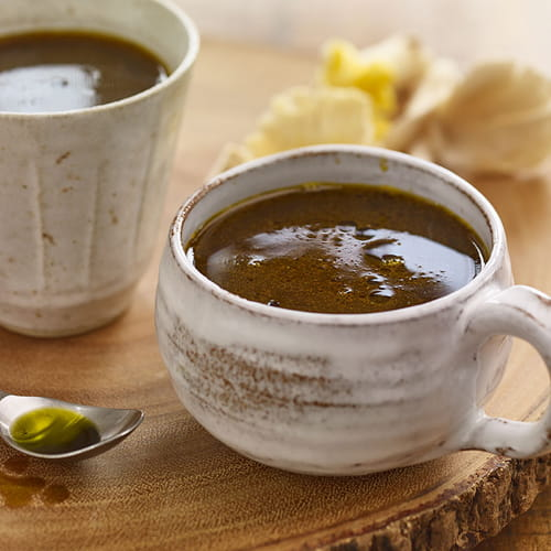 Herbed Mushroom Sipping Broth with Avocado Oil Drizzle