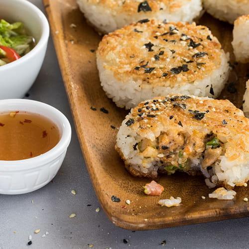 Sesame & 7 Spice Chicken Rice Balls with Quick Kimchee