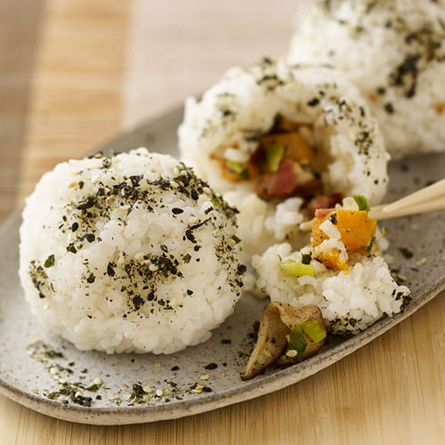 Shiitake and Bacon Rice Balls with Spicy Ginger Sauce - Recipe