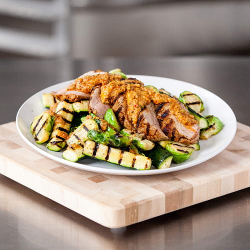 Grilled Pork Tenderloin with Charred Summer Romesco and Grilled Brussels Sprouts