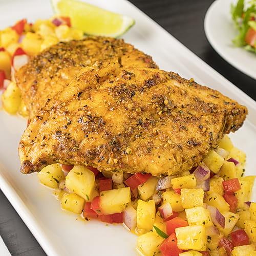 Island Curry Rockfish with Hot Pineapple Salsa - Recipe