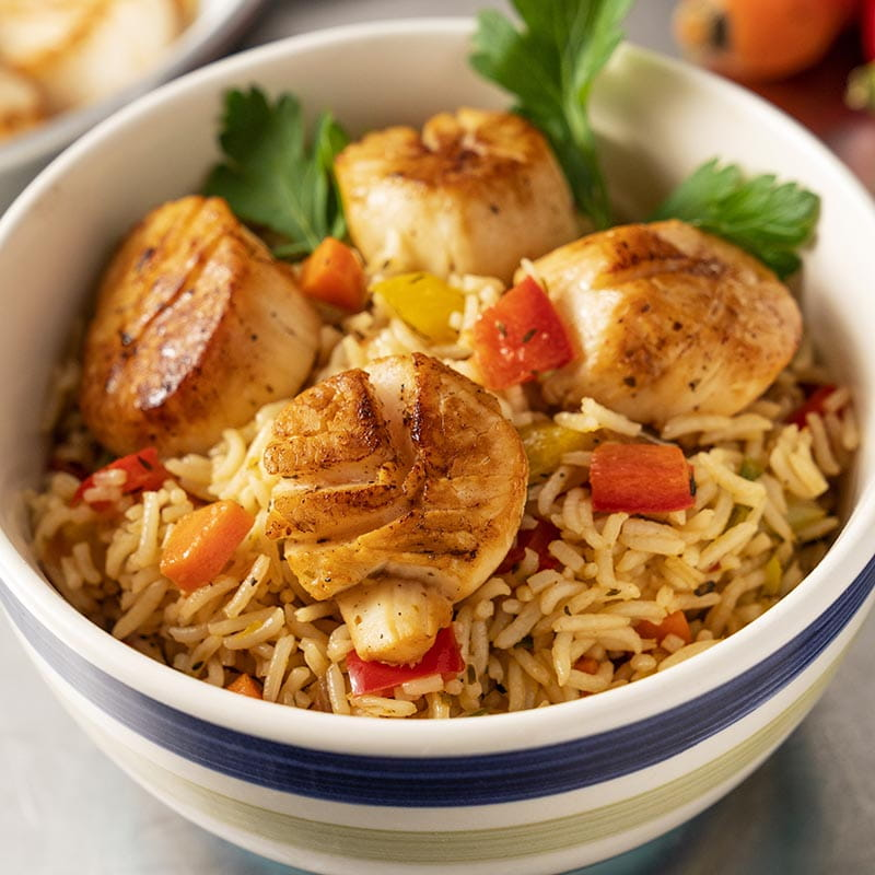 Caribbean Rice Bowl with Grilled Sea Scallops