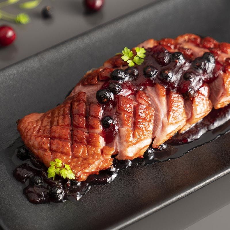 Juniper and Cranberry Glazed Duck Breasts