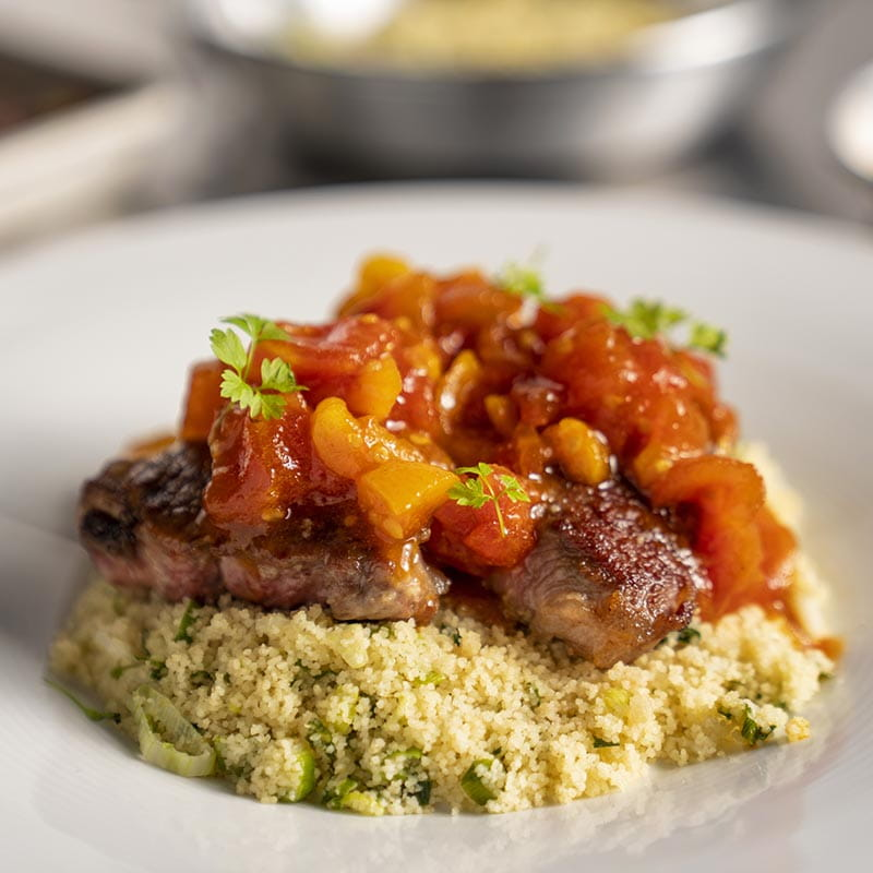 Pan Fried Lamb with Couscous and Tomato