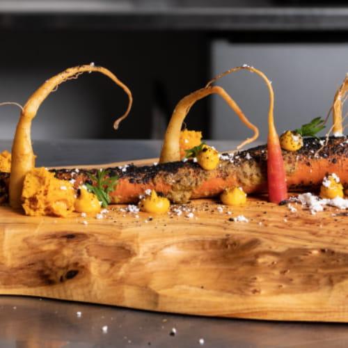 Carotte au cari vert avec gâteau salé aux carottes