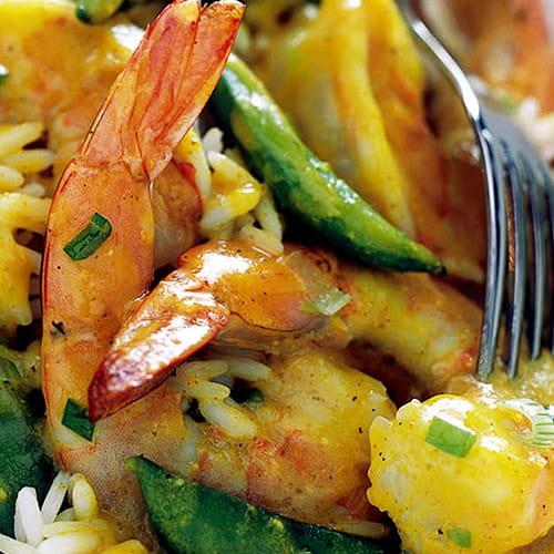 Shrimp Sugar Snap Peas in Curried Coconut Sauce
