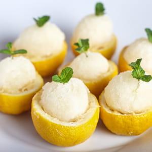 Sorbet au citron Meyer, au Limoncello et au thym