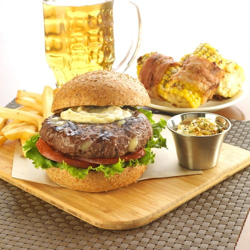 Maple Bacon Cheese Curd Beef Burger