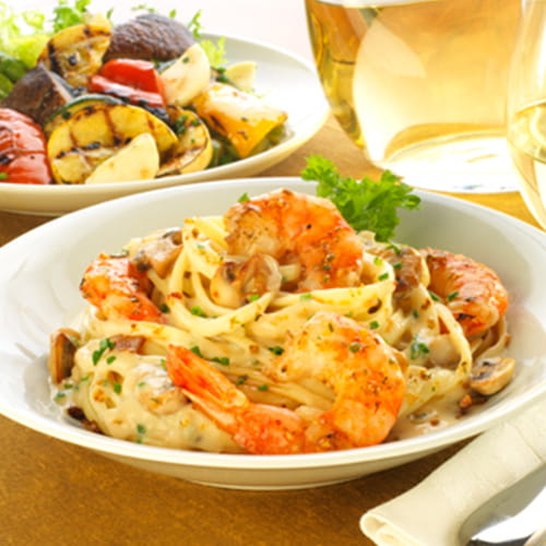 Maple Bacon Linguini with Alfredo Sauce and Grilled Shrimp - Recipe