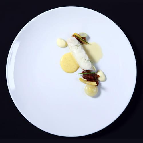 Poached Sea Bream, Bone Velouté, Duck Sausage, Sugar Pumpkin Ragout, Fennel Blanquette