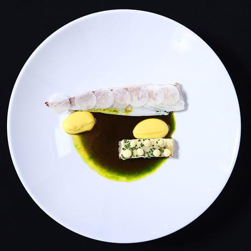 Sea Bream with Pumpkin Puree, Pomme de Terre, Pickled Daikon, Sauce Charcutiere
