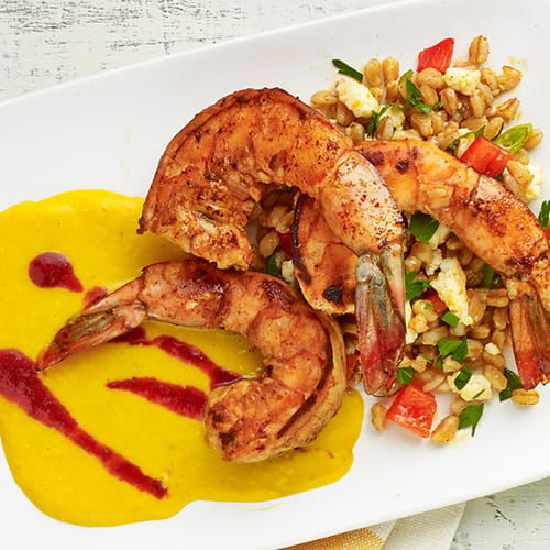 Spiced Shrimp with Roasted Corn Puree and Farro Salad