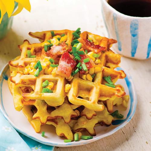 Sriracha Lime Cornbread Waffles - Recipe