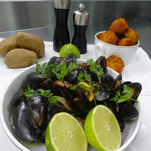 Thai Green Curry and Coconut Milk Steamed Mussels with Spiced Kennebec Potato Tater Tots