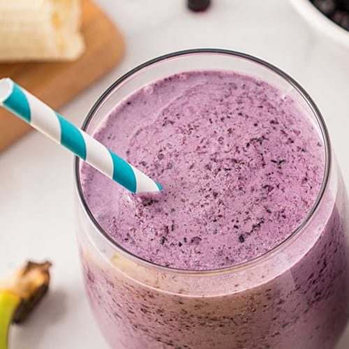 Coconut Milk Smoothie with Honey, Blueberry and Banana