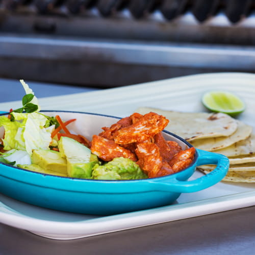 BBQ Red Curry Chicken with Crushed Avocado, Spicy Slaw and Tortillas