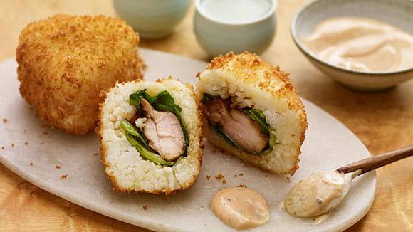 fried_chicken_rice_balls_with_creamy_plum_vinegar_ginger_sauce