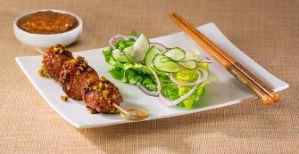 Brochette de boeuf pistaches et miel à la sauce Satay