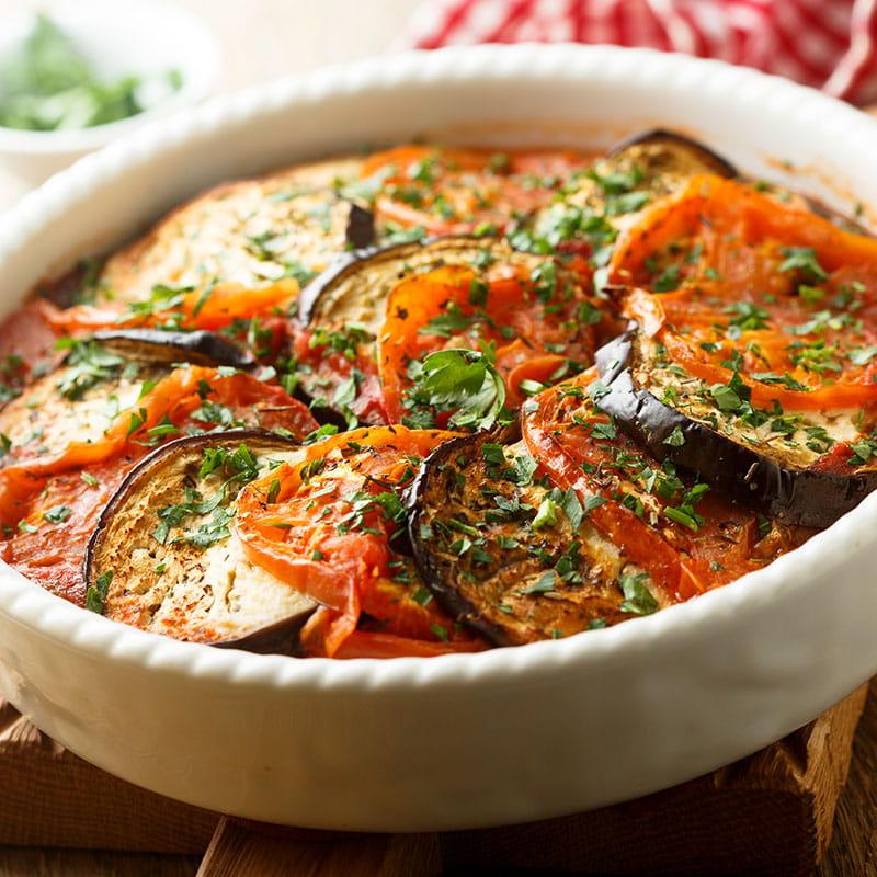 Assado de Beringelas Curgetes e Tomates
